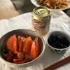 サーモンキムチ丼、ナスの煮浸し、ビール、焼きそば(こども」