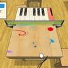 机がピアノに?!机でピンポン