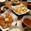 <唐揚げが優勝>とり天、鶏のから揚げ、レンチンかぼちゃ煮物、ゆでキャベ、味噌汁