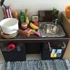 100均グッズと靴箱でままごとキッチンを手作りしました