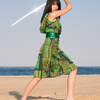 Beautiful Asian woman with japanese sword-katana in green dress by the sea Ⅱ.(海辺で日本刀を構える緑のワンピース姿の美しいアジア人女性 其の二)