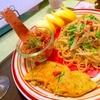 蟹とおかひじきのバジルチーズオムレツ