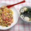 昼食:ボローニャ・ソーセージで焼き飯