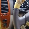 車 内装修理#124 トヨタ/ランドクルーザー 本革ウッドコンビステアリング補修跡