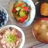 たこ飯、チンゲン菜とパプリカの豆板醤炒めなど