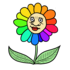 いろいろな色の花 のイラスト