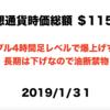 2019/1/31 仮想通貨時価総額 $115B ドル108円後半 謎の爆上げリップルも日足25 MA は右下