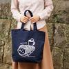 内ポケット付き ねこコロネ 猫トートバッグA4帆布 ネイビー(紺)
