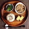 厚焼き玉子、菜の花辛子和え、沖縄県産もずくと小粒納豆。