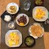 ハムたまごはん、ブロッコリーと新玉の味噌汁、ホタルイカ、レンコンチップス