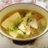 鶏ガラ和風豆苗スープ、豚肉野菜炒め、胡麻和え、がんも煮