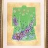 押し花で着物のデザイン