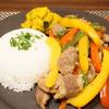 かみふらの味付豚サガリを野菜と炒めてワンプレートごはん(´・ω・`)