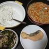 サーモンフライ、なす味噌、味噌汁