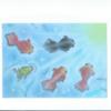 型紙を作って描いた金魚達 <絵>