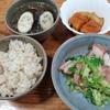 ベーコンキャベツ炒めと春雨スープとカボチャの煮つけ