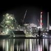 津久見工場夜景(3):堅浦にて,津久見湾越しの夜景。