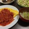 オムライスとクックパッドレシピの椎茸の肉詰めの晩ご飯