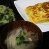 とん平焼き風、スープ、チンゲンサイ中華ゴマ和え