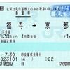 乗車券 東福寺→京都 (交)京都伏見 発行