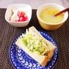 沼サンド、コーンスープ、バナナヨーグルト。