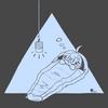 大きな寝袋と小さなランタン
