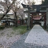 桜吹雪の若木神社と草木塔、若木山公園