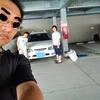 台風の日に車掃除
