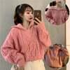 韓国ファッション レディース プルオーバー ハーフジップアップ ニット セーター ケーブル編み
