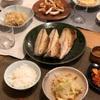 ごはん、厚揚げと千切り大根の蒸し煮(一部白菜)、はんぺんのチーズはさみ焼き、鯖、キムチ