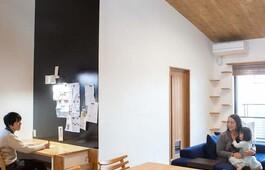 カーテンを開けると「レイクビュー」。家族も猫も大満足、漆喰壁にこだわった家づくり