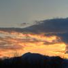 長野の日が沈む風景、冬の雪に描かれた影を撮影しました