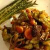 ✴︎ズッキーニと玉ねぎと人参とマッシュルームとひよこ豆のザタール風味ロースト、アスパラロースト、鯖のトルコスパイス焼き、パプリカとトマトとラディッシュのサラダ