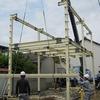 倉敷市玉島 鉄骨造ガレージ(2階建て) 建方
