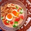 彩り野菜とパリパリトッピングのとろりトマト豆乳素麺