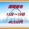資産運用|週間報告(13日~19日)の投資結果は40,932円でした|