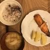 鮭のつけ焼きとフライドポテト