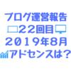2019年8月のブログ運営報告「22回目」PVは?AdSense金額は!?2019年の残り日数は119日、32.6%ですよ!!