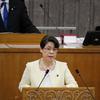 神山県議が代表質問。憲法改悪について知事は国会で議論すべきものと答えず。