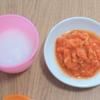 離乳食中期(7ヶ月)☆メニュー『サーモンのトマトソース煮』前回酸っぱくて失敗したトマト!今回はトマトピューレを使ってリベンジ!【レシピ付き】