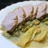 豚モモ肉とセロリのアップル煮込み、クリーム仕立て