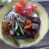 幸運な病のレシピ( 1406 )昼:サイコロステーキ(ローストビーフ風)、レストランぽいぽい