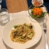 ブロッコリーとオイルサーディンのパスタ、パクチーのサラダとキャロットラペ、(こども)人参とれんこん