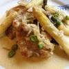 鶏肉とホワイトアスパラガスのクリーム煮〜えんどう豆の茹で方