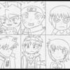 平成ライダーの年代でアニメキャラ振り返りイラスト1枚目の下書きが出来ました。