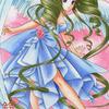 「青いドレスの天使」オリジナルアナログイラスト:天使の歌声