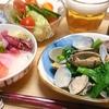ミニ海鮮丼、菜の花とあさりの酒蒸しで晩酌