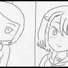女子高生キャラ集合絵の一部の下書き。