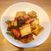 絹厚揚げと豚肉炒め、じゃがいもとベーコン煮物、はんぺん春巻き、玉子焼き