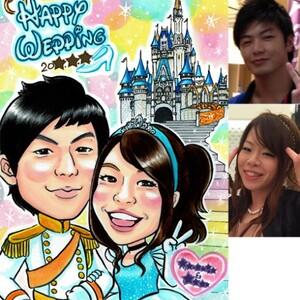 Saiのお客様似顔絵(5)/ウェルカムボード、ウェディング、シンデレラ、カップル、付き合った記念日、誕生日
